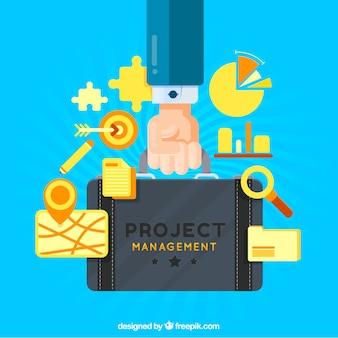 Conceito de gerenciamento de projetos com bolsa