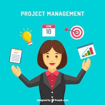 Conceito de gerenciamento de projetos com empresária