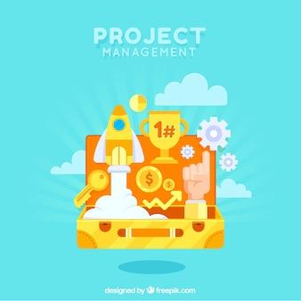 Conceito de gerenciamento de projetos com mala