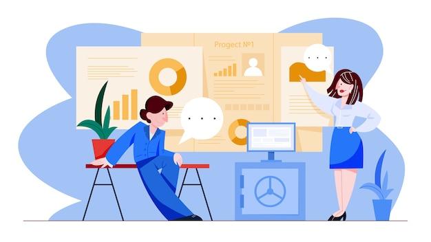 Conceito de gerenciamento de projetos. ideia de análise de estratégia e processo de negócios. mulher aponta para o diagrama. ilustração