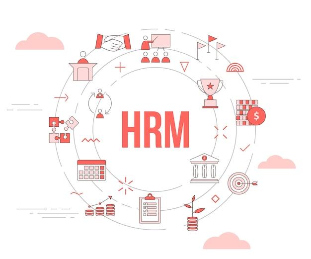 Conceito de gerenciamento de recursos humanos de hrm com banner de modelo de conjunto de ícones