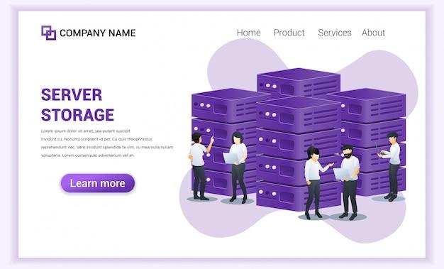 Conceito de gerenciamento de servidor. pessoas trabalhando no laptop, gerenciando dados e arquivos no servidor
