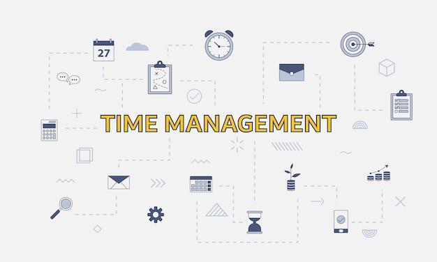 Conceito de gerenciamento de tempo com conjunto de ícones com grande palavra ou texto na ilustração vetorial central