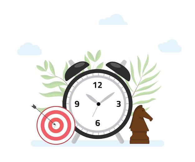 Conceito de gerenciamento de tempo com meta e estratégia de metas de relógio