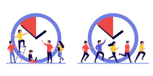 Conceito de gerenciamento de tempo de trabalho, pessoas e relógio