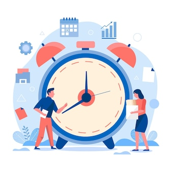 Conceito de gerenciamento de tempo desenhado à mão plana com pessoas