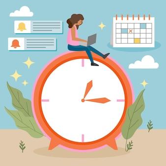 Conceito de gerenciamento de tempo desenhado à mão plana