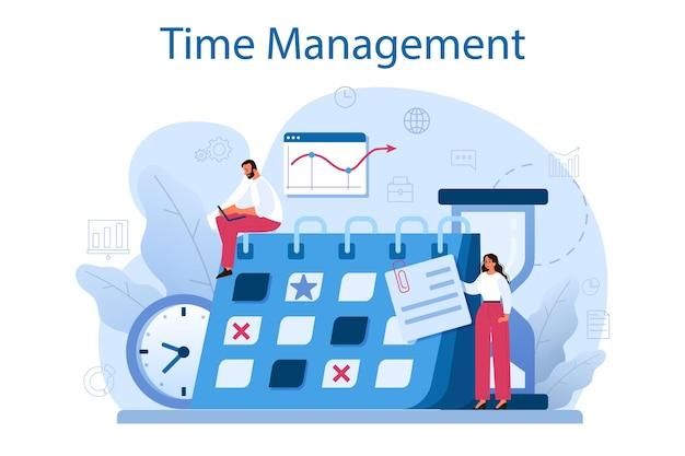 Conceito de gerenciamento de tempo. os empresários trabalham o tempo ou o planejamento de projetos. idéia de cronograma e organização. otimização do dia produtivo e do trabalho.