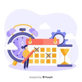 Conceito de gerenciamento de tempo para a página de destino