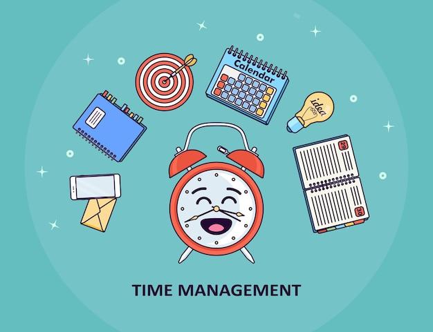 Conceito de gerenciamento de tempo. planejamento, organização da jornada de trabalho. despertador engraçado, diário, calendário, telefone, lista de tarefas