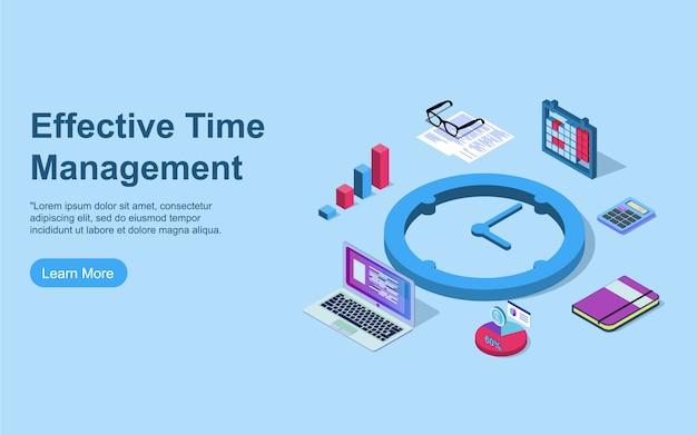 Conceito de gerenciamento de tempo. pode usar para web banner, infográficos, imagens de herói. ilustração em vetor isométrica plana isolada em fundo azul.