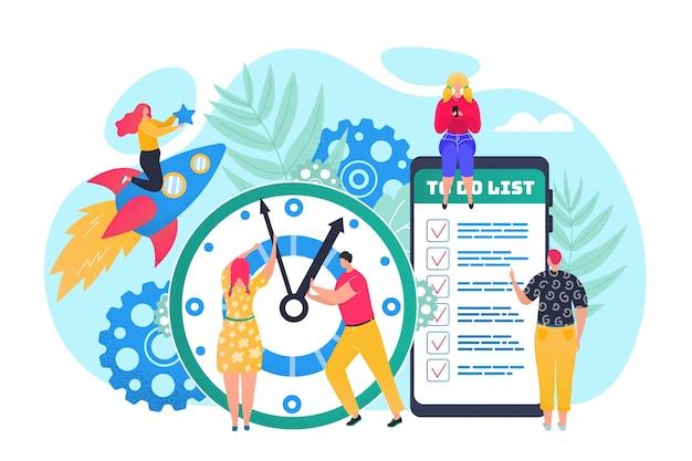 Conceito de gerenciamento de tempo, uso eficiente do tempo para implementação de ilustração do plano de negócios. relógio, agenda e cronograma no aplicativo de telefone para organização do tempo. gerentes de escritório planejando tarefas.