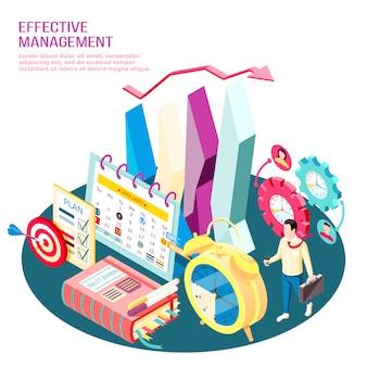 Conceito de gerenciamento eficaz composição isométrica de metas de negócios e otimização de processos de trabalho com elementos de infográfico