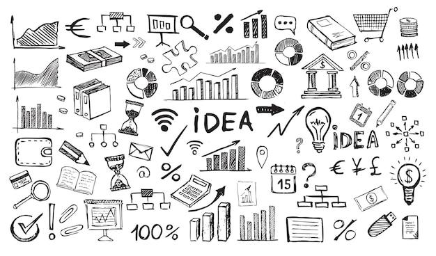 Conceito de gestão com estilo de design doodle símbolos de negócios desenhados à mão