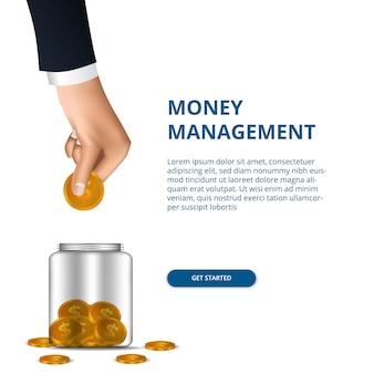 Conceito de gestão de dinheiro com mão colocar em dinheiro de ouro para jar