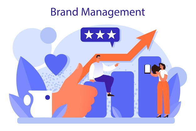 Conceito de gestão de marca. desenho único de criação e desenvolvimento de uma empresa. o reconhecimento da marca como estratégia de marketing e promoção. ilustração plana isolada