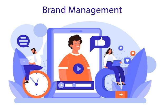 Conceito de gestão de marca. ilustração plana isolada