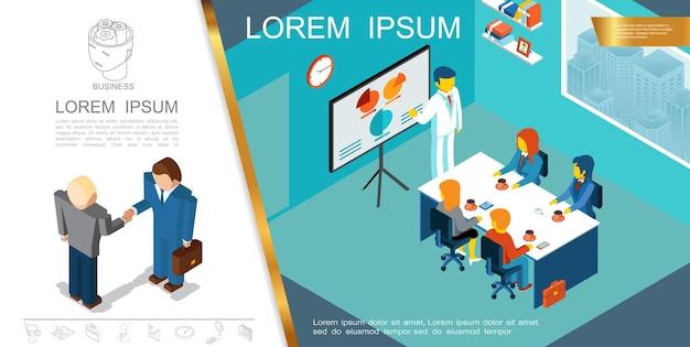 Conceito de gestão de negócios isométrica com pessoas participando de conferência e empresários apertando as mãos ilustração