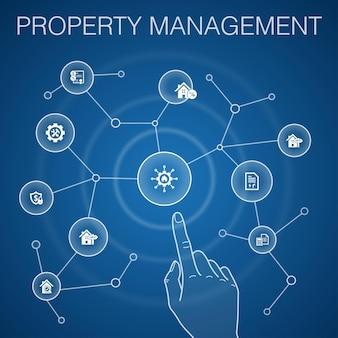 Conceito de gestão de propriedade, background.leasing azul, hipoteca, depósito de segurança, ícones de contabilidade