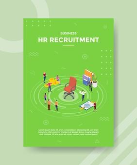 Conceito de gestão de recrutamento de recursos humanos de rh para modelo de banner e flyer com vetor de estilo isométrico