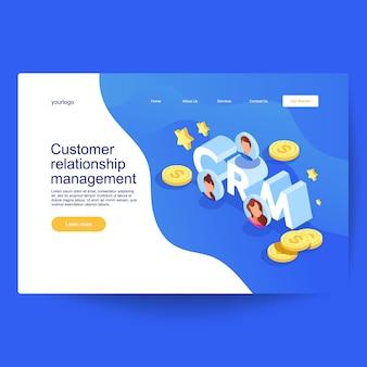 Conceito de gestão de relacionamento com cliente. negócio de vetor de marketing de saída no desenho isométrico.