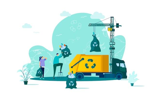 Conceito de gestão de resíduos em grande estilo com personagens de pessoas em situação