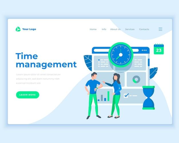Conceito de gestão de tempo de modelo de página de aterrissagem com pessoas de escritório.