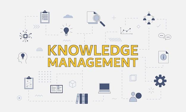 Conceito de gestão do conhecimento com conjunto de ícones com uma palavra grande ou texto no centro