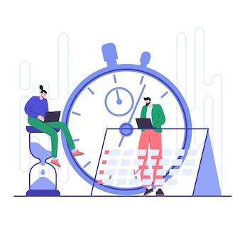 Conceito de gestão e planejamento eficazes do tempo. organização do fluxo de trabalho.