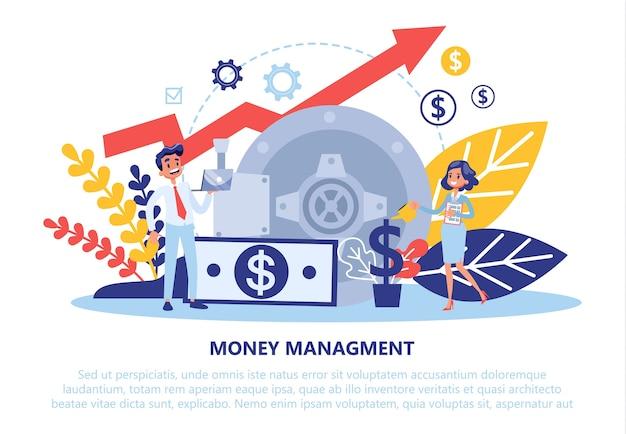 Conceito de gestão financeira. ideia de economia de dinheiro