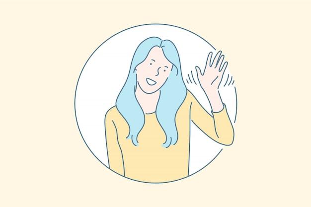 Conceito de gesto de saudação não verbal amigável