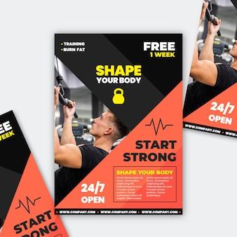 Conceito de ginásio esporte brochura