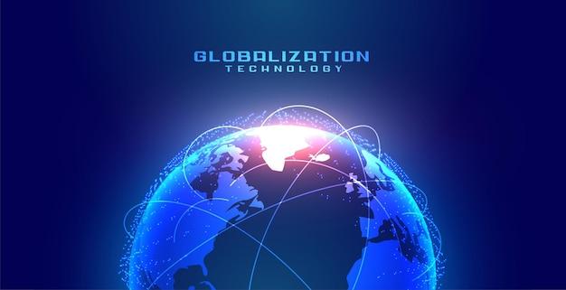 Conceito de globalização com terra e linhas de conexão