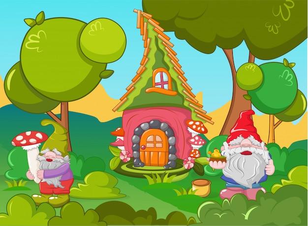 Conceito de gnome em casa, estilo cartoon