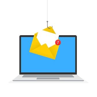 Conceito de golpe online de hacking de phishing de dados pesca por e-mail
