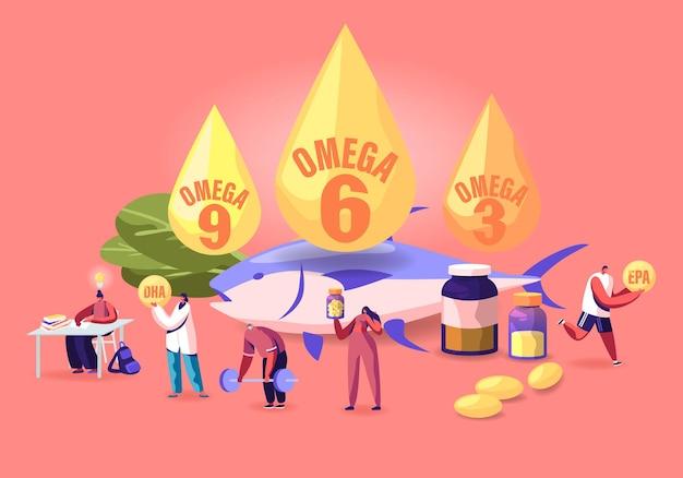 Conceito de gordura ômega. as pessoas tomam produtos e vitaminas com ácidos graxos poliinsaturados alimentos orgânicos naturais com alto ômega. ilustração plana dos desenhos animados