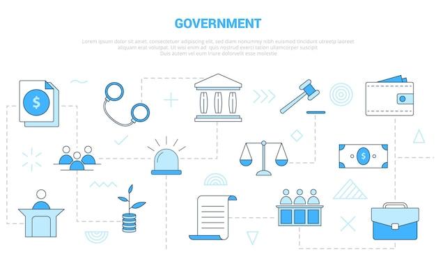 Conceito de governo com banner de modelo de conjunto de ícones com vetor moderno estilo de cor azul