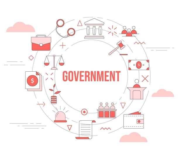 Conceito de governo com conjunto de ícones de banner de modelo e vetor de forma redonda de círculo
