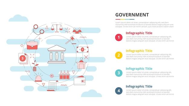 Conceito de governo para banner de modelo de infográfico com vetor de informações de lista de quatro pontos
