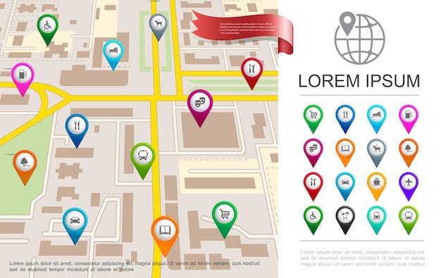 Conceito de gps de mapa de cidade plana com ilustração de pinos de navegação coloridos e ponteiros de diferentes objetos