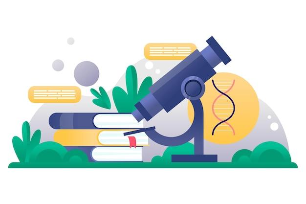 Conceito de gradiente de biotecnologia com microscópio