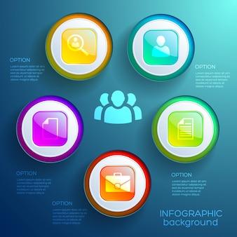 Conceito de gráfico infográfico com cinco opções de ícones de negócios, círculos coloridos e botões quadrados brilhantes isolados