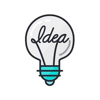 Conceito de grande ideia com forma de lâmpada. símbolo do pensamento e da imaginação. vetor