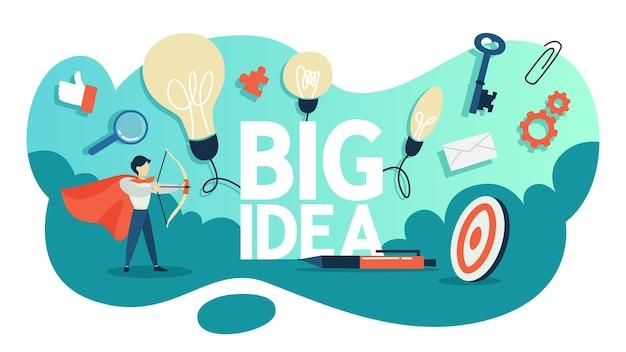 Conceito de grande ideia. mente criativa e brainstorm. lâmpada como metáfora da ideia. empresário em manto vermelho em pé com arco. plano
