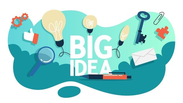 Conceito de grande ideia. mente criativa e brainstorm. lâmpada como metáfora da ideia. ilustração
