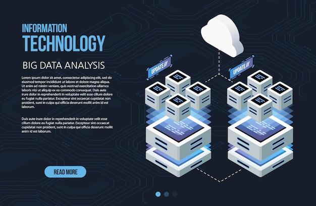 Conceito de grande processamento de dados, data center isométrico, processamento de informações vetoriais e armazenamento. ilustração criativa com elementos geométricos abstratos.