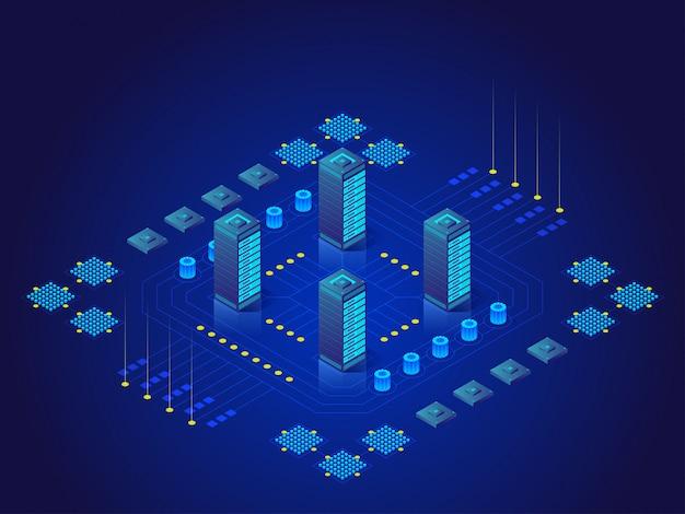 Conceito de grande processamento de dados, estação de energia do futuro