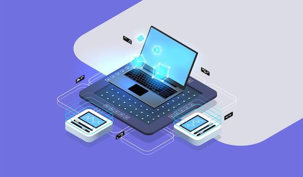 Conceito de grande volume de dados. desenvolvimento e programação de software, visualização de dados na tela do laptop. ilustração isométrica moderna.