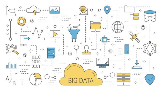 Conceito de grande volume de dados. tecnologia de computador moderna. analisar informações digitais da internet e tomar melhores decisões de negócios. conjunto de ícones de linha. ilustração