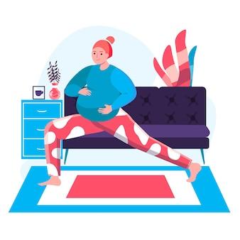 Conceito de gravidez. mulher grávida fazendo ioga asana em casa. esportes ativos e preparação física para o nascimento da cena do personagem infantil. ilustração vetorial em design plano com atividades pessoais